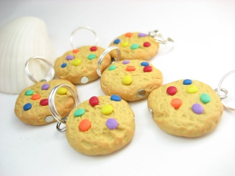 Cute Rainbow Cookie Stitch Markers for Knitting