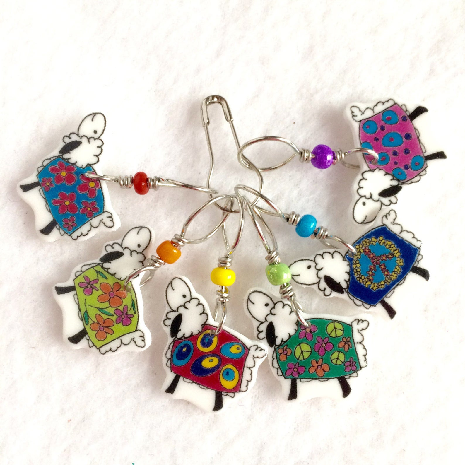 Cute and Colorful Sheep in Coats Knitting Stitch Markers