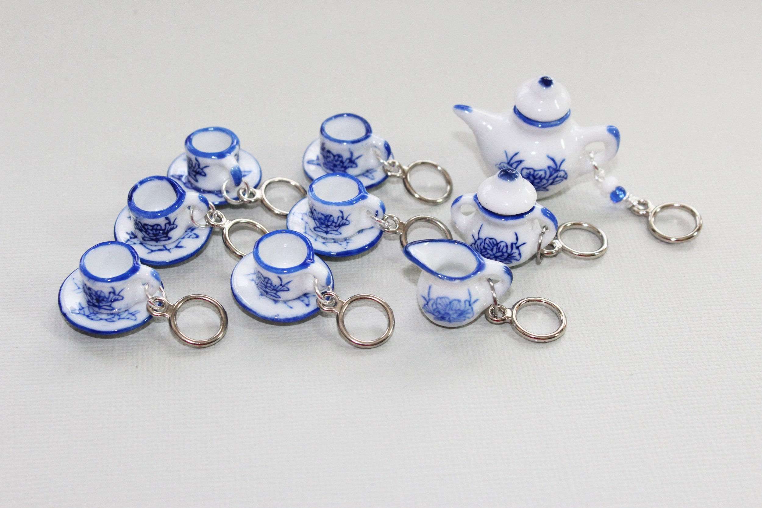 Tiny Blue and White China Tea Set Stitch Markers for Knitters