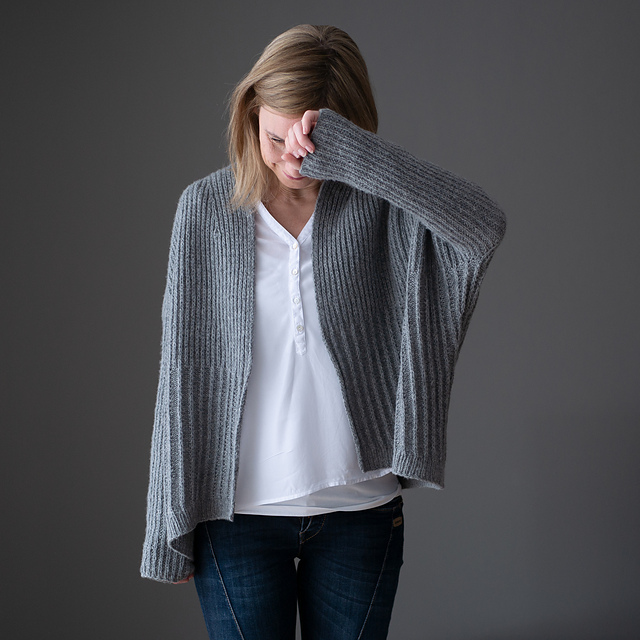 Winter Lines Cardigan Knitting Pattern features Brioche Knit Stitches