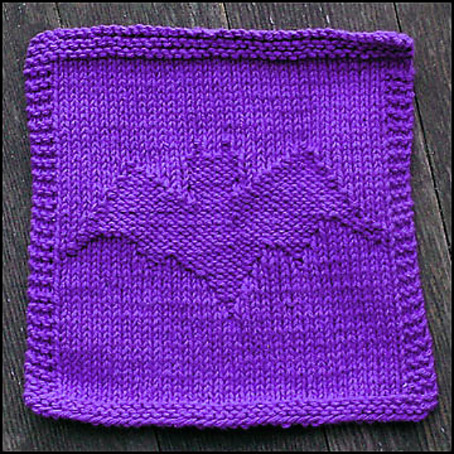 Batty Halloween Dishcloth Free Knitting Pattern