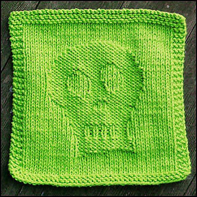 Skully Halloween Dishcloth Free Knitting Pattern