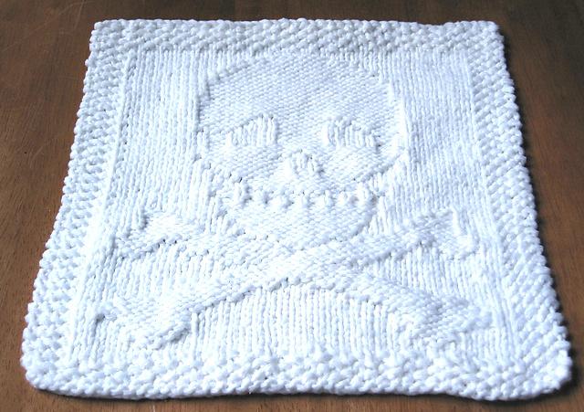 Skull and Crossbones Dishcloth Free Knitting Pattern