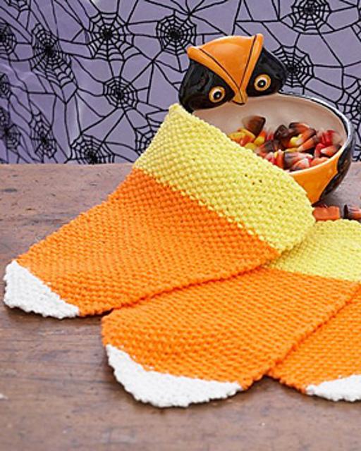 Candy Corn Dishcloth Free Knitting Pattern
