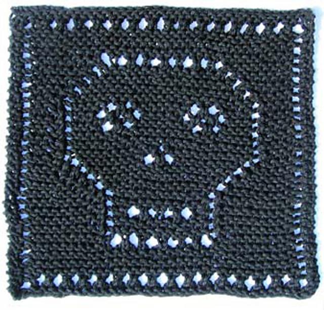Halloween Skull Dishcloth Free Knitting Pattern