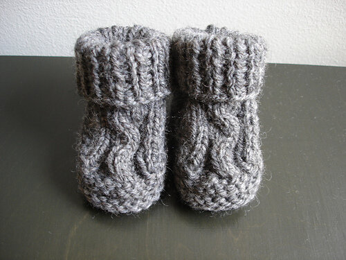Two Needle Cable Baby Booties Free Knitting Pattern
