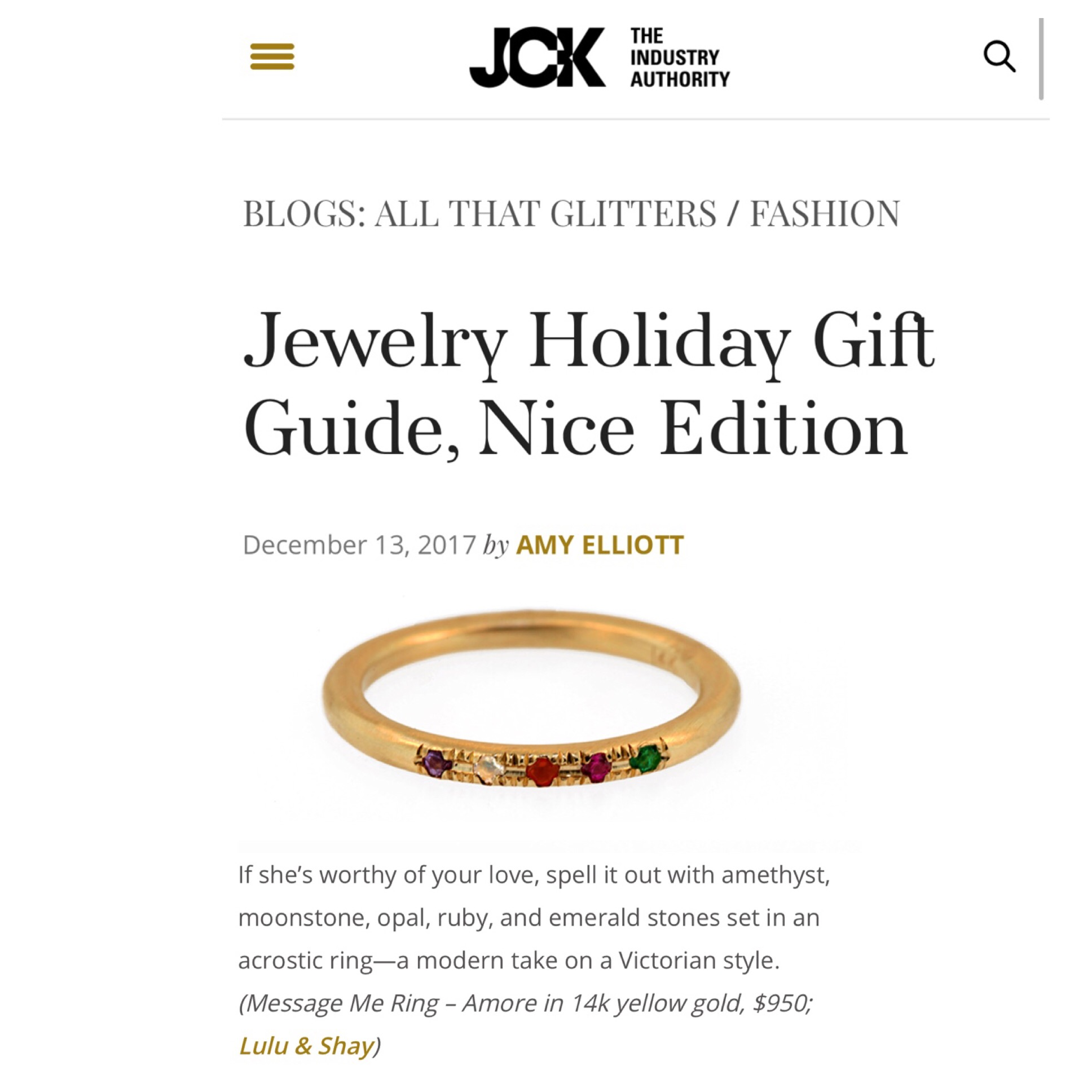 JCK Jewelry Holiday Gift Guide, Nice Edition