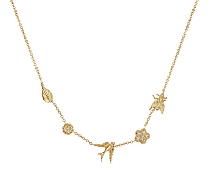 OUR GARDEN NECKLACE FEATURES 5 PENDANTS AND IS A PERFECT MESSAGE OF LOVE FOR YOUR MOM THIS MOTHER'S DAY! A LEAF FOR FRIENDSHIP. OUR BLOSSOM FLOWER FOR AFFECTION, OUR BIRD SYMBOLIZING A SAFE HOME, OUR LAURA FLOWER FOR INNOCENCE, AND OUR FLY FOR HUMBLENESS.