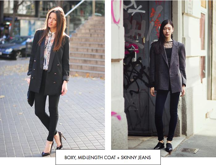Boxy, mid-length coat + skinny jeans