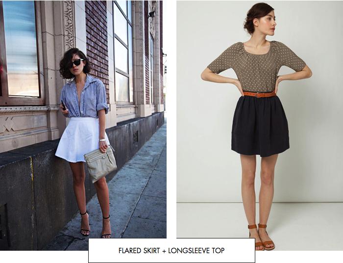 Flared skirt + longsleeve top