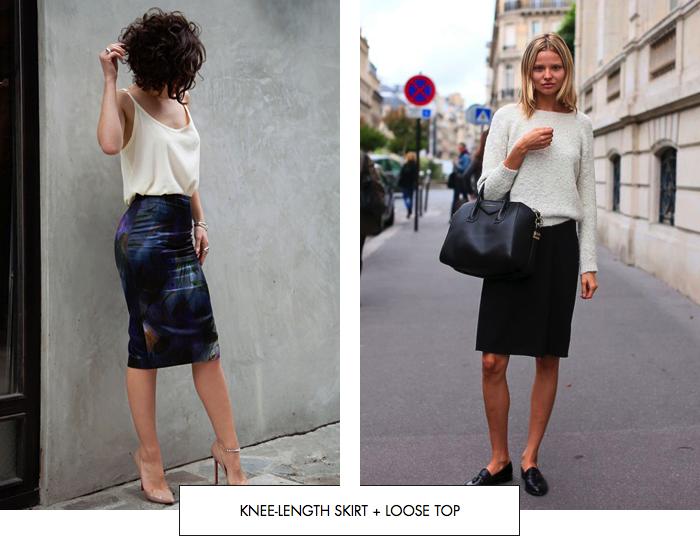 Knee-length skirt + loose-fitting top