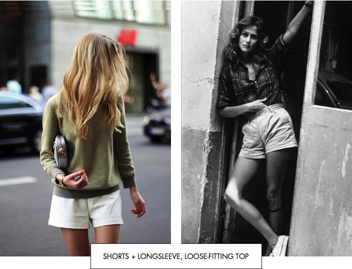 Shorts + longsleeve, loose-fitting top