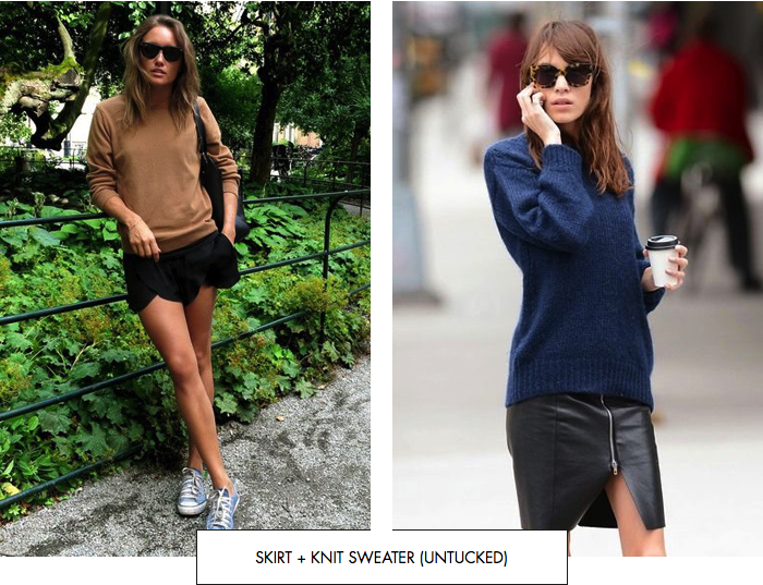 Skirt + knit sweater (untucked)