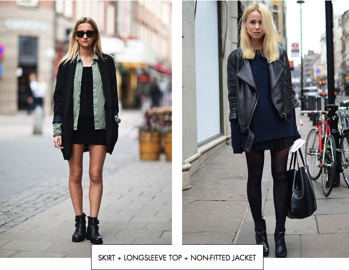 Skirt + longsleeve top + non-fitted jacket