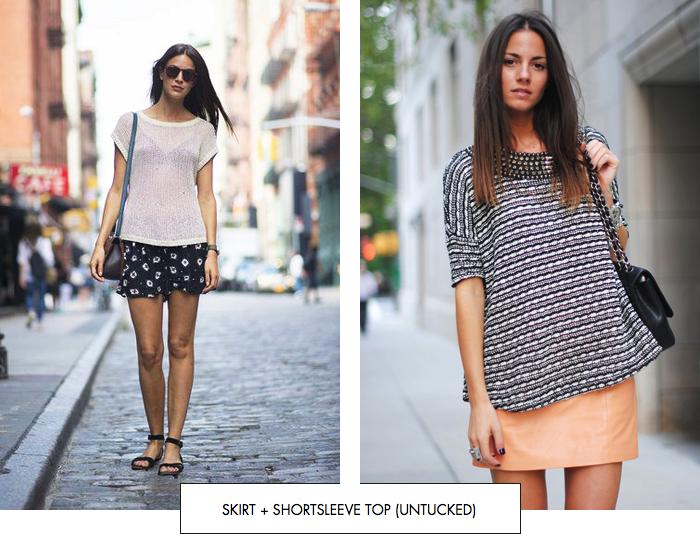 Skirt + shortsleeve top (untucked)