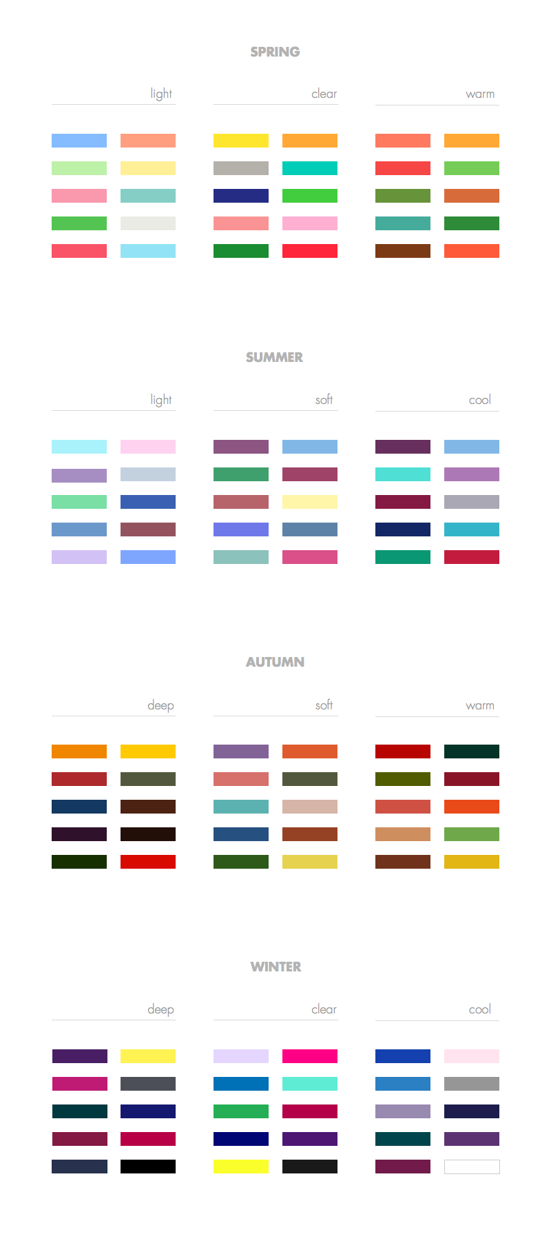 Colour Analysis Guide: 120 Shades for Every Colour Type