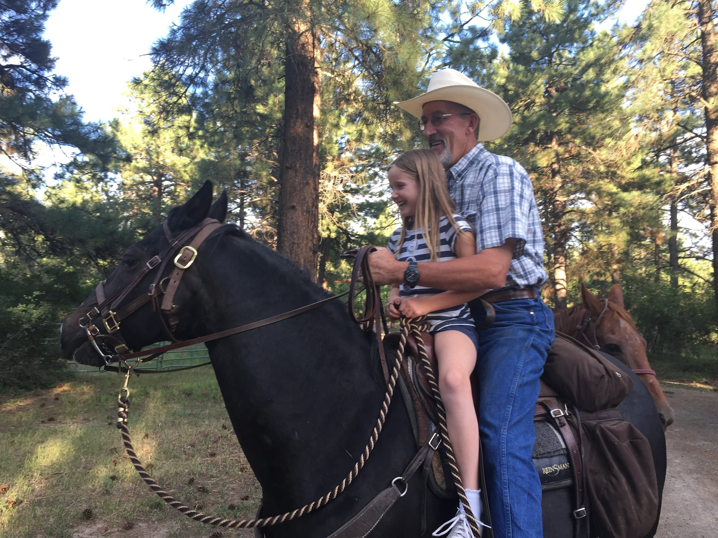 Leah and Uncle James on Bandit.