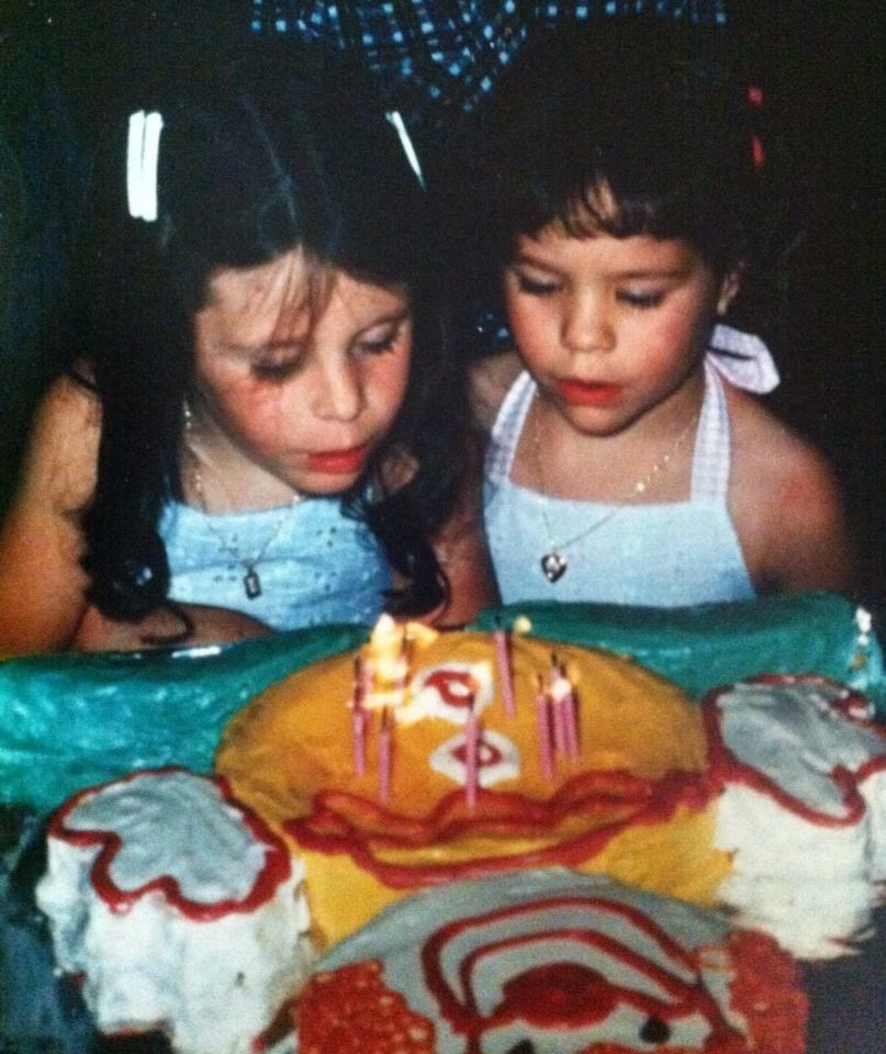 My twin sister and I - age 6, maybe? - nary a grey hair on our sweet little baby heads.