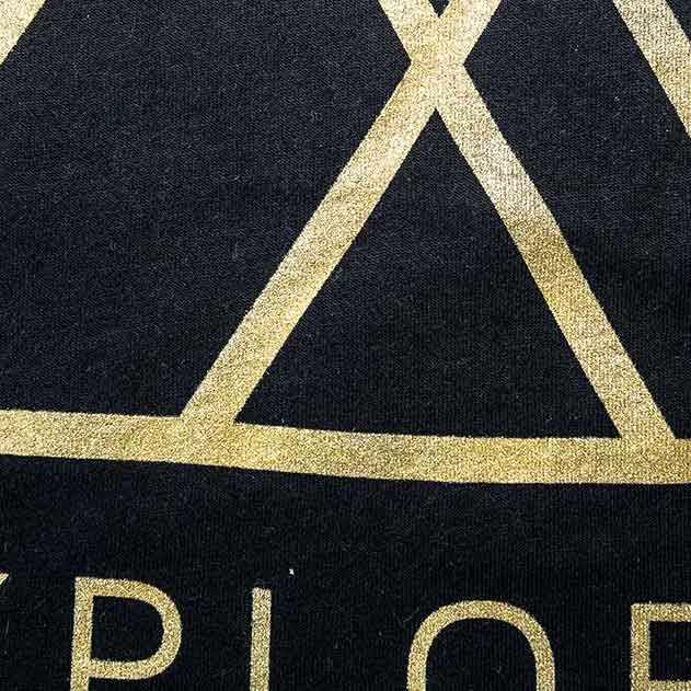 Gold METALLIC ink printed on 100%cotton shirt.