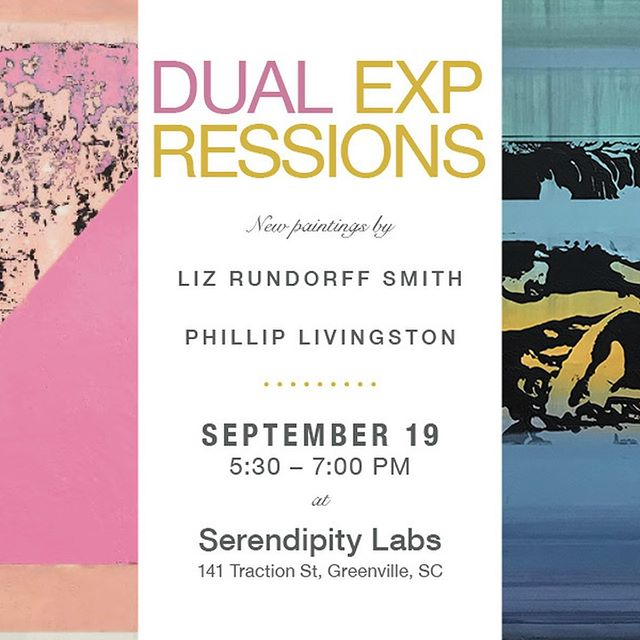 Join @Liz rundorffsmithstudio and me next Thursday evening 9/19 at @serendipity_labs_greenville for a drink and see what you think of our latest work! There will be large and small works for sale as well as wine and beer and happy people 😆 💥 🍻