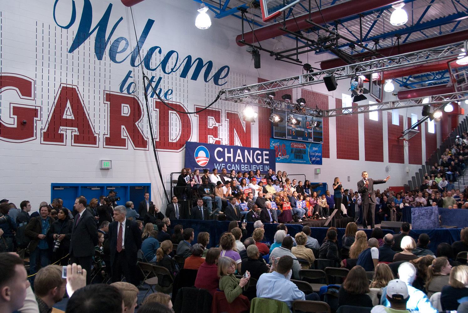 """Barack Obama at The Garden"", T.C. Williams H.S., 2008"