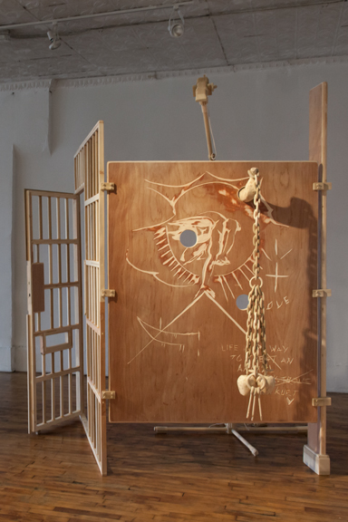 Mike Rea,  Quid Pro Quo, Waiting for My Man  , 2013 Wood, rope. Dimensions variable.