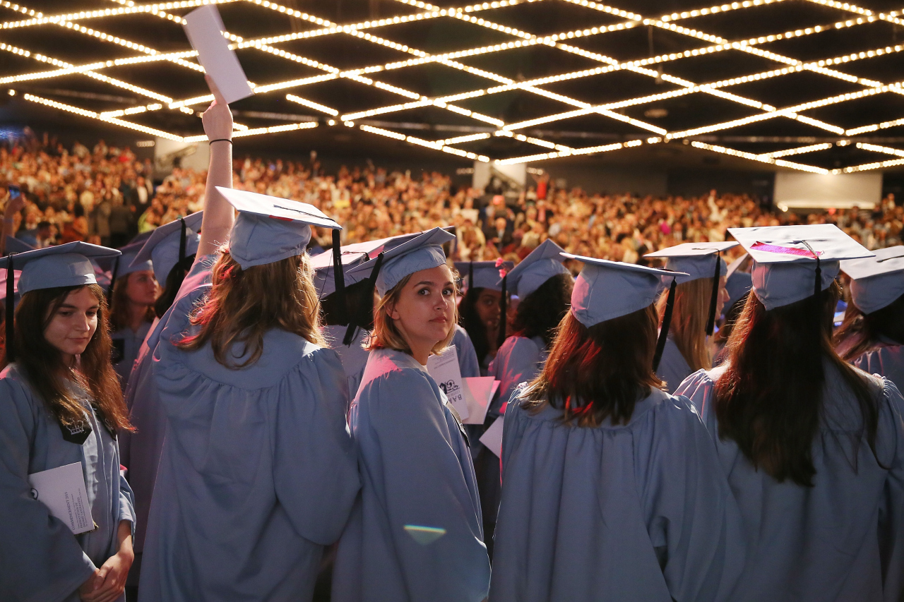 BARNARD COLLEGE GRADUANDS AT THE THEATER AT MADISON SQUARE GARDEN ON MAY 17, 2015 IN NEW YORK CITY.