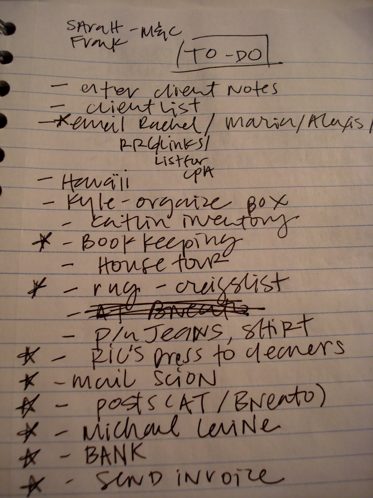 A classic list. Not my own.