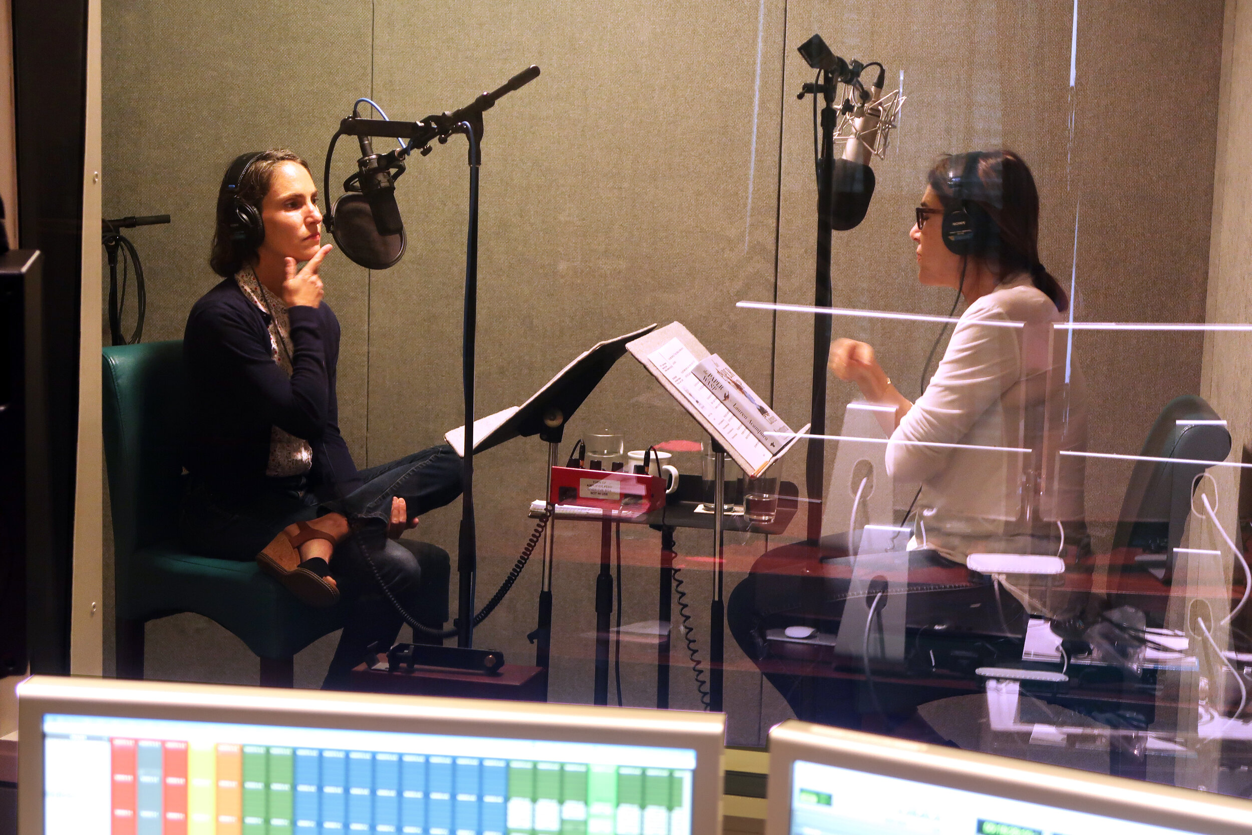 Lisa Birnbach with Lauren Acampora in the podcast studio - at  The Field