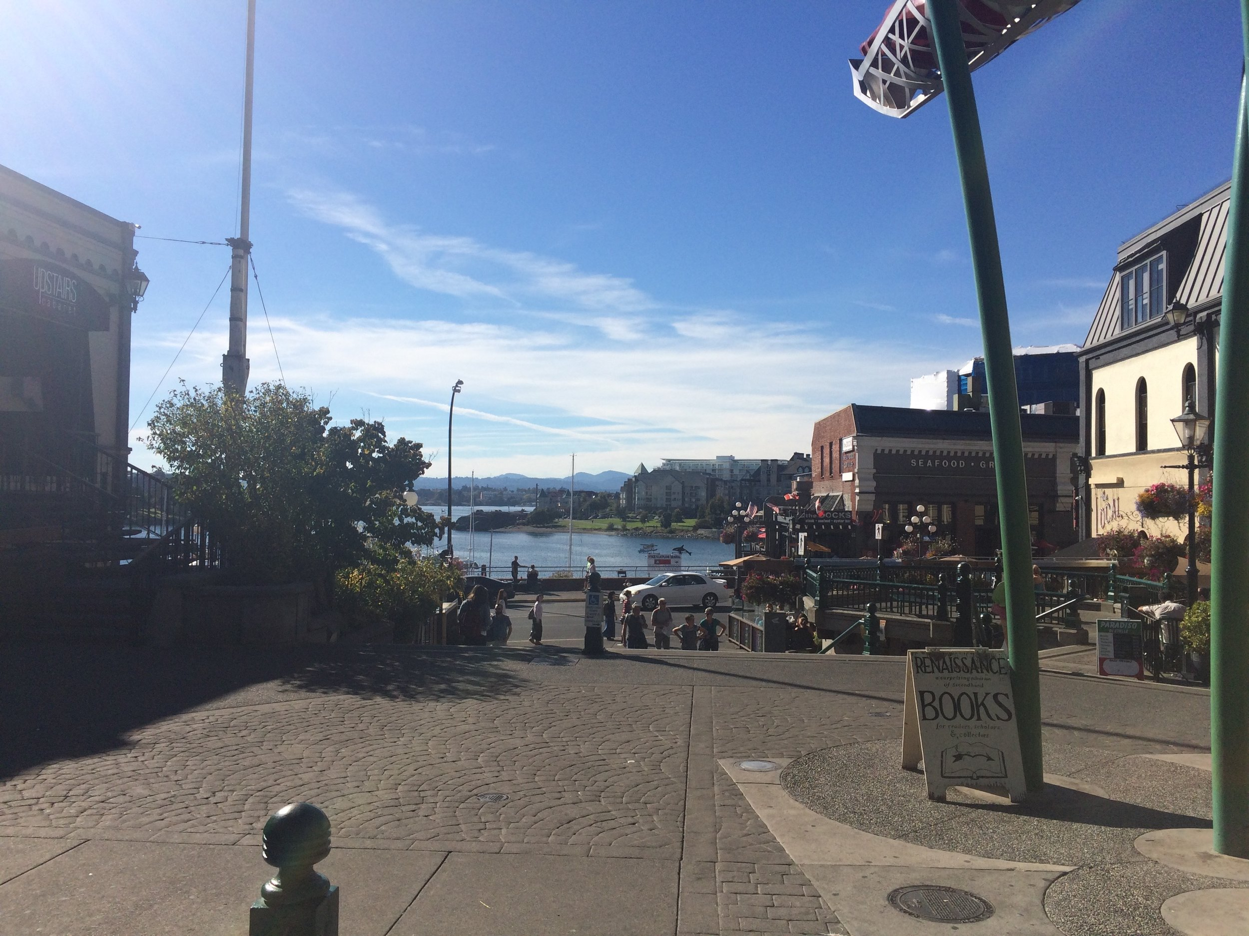 Looking towards the water from Bastion Square. Walk down the steps and Voila!... Wharf Street!