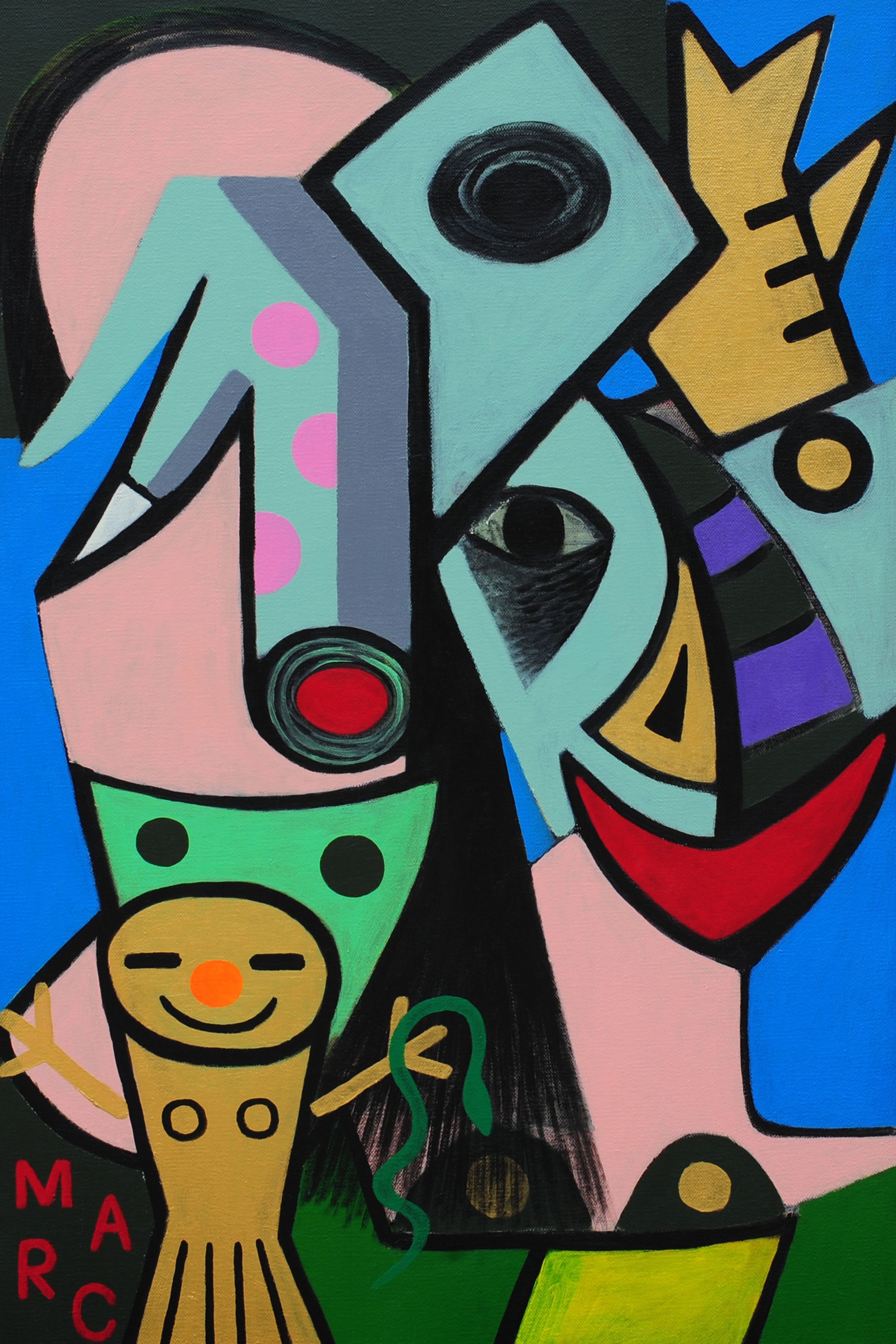 Two Princesses (gold girl with snake) (2015) acrylic on canvas 80cm X 120cm.jpg