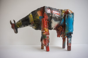 Gnana Dickman, Cow 1, 11 x 14 x 5 in., mixed media sculpture, $3,500.jpg