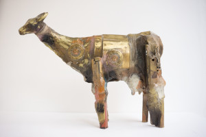 Gnana Dickman, Cow 2, 11 x 14 x 5 in., mixed media sculpture, $3,500.jpg