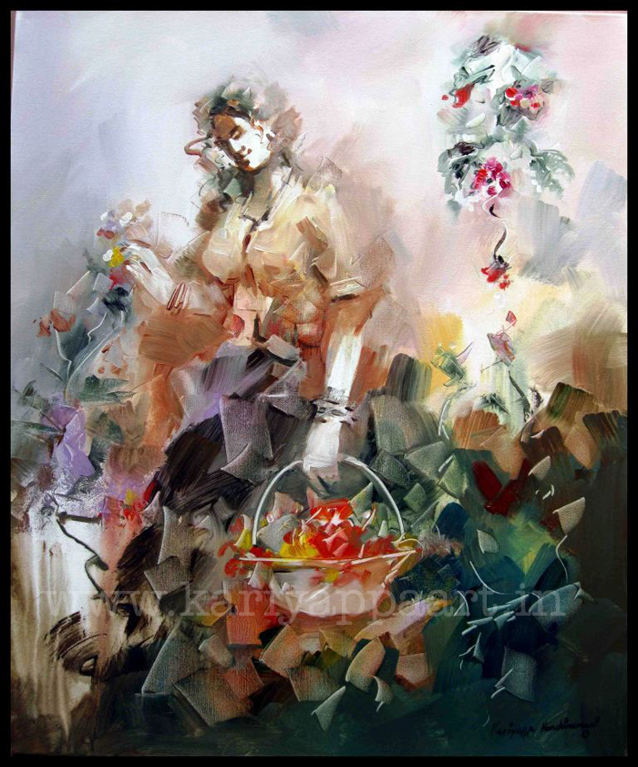 Kariyappa Hanchihamani, Lady with Flower, 40 x 30 in., acrylic on canvas, 2013, $4,000.jpg