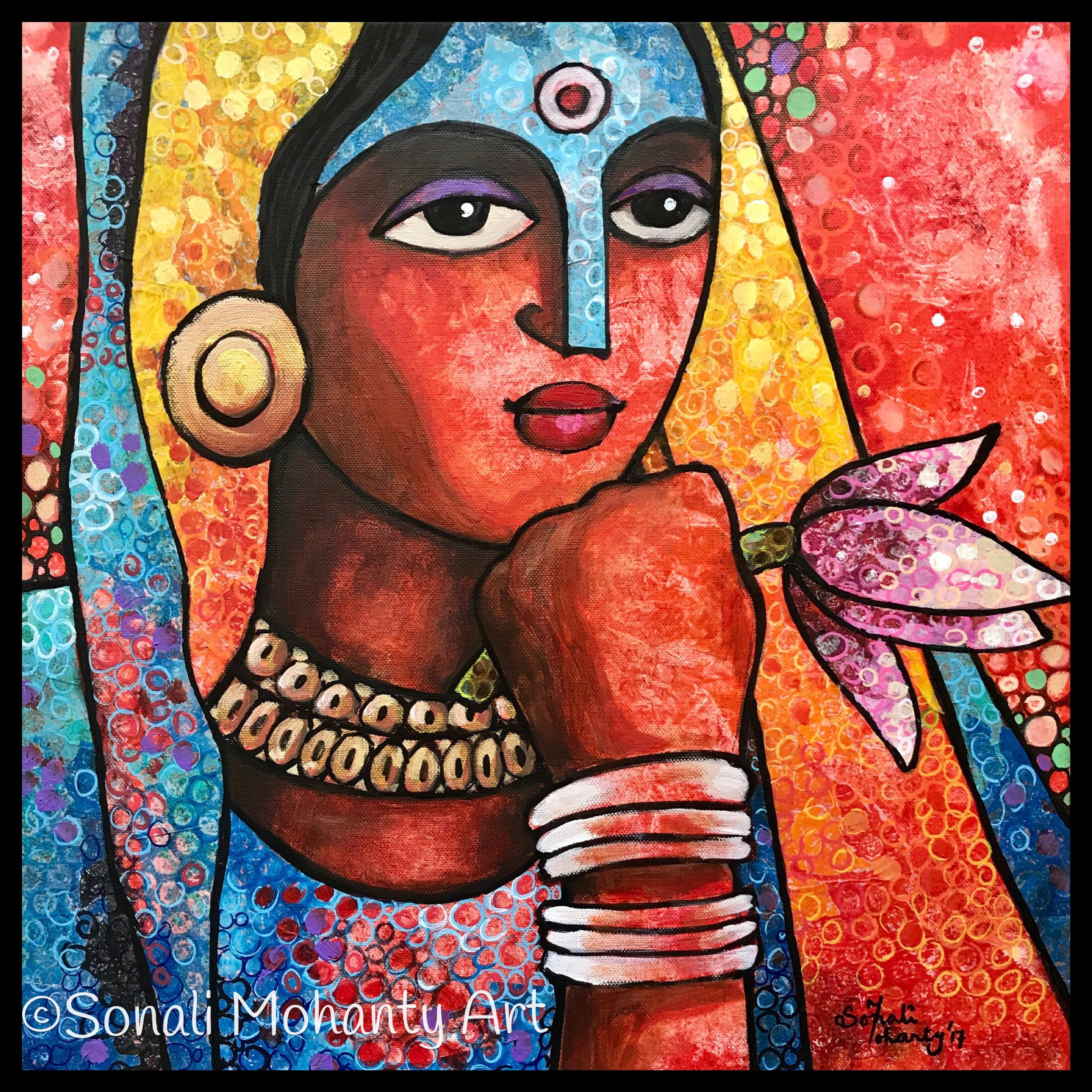 The Lady with Lotus_16inX16in.JPG