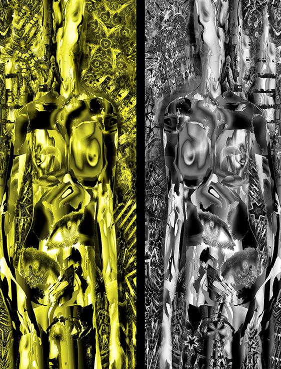 "Monzo Watanabe ""Cyborg 30-30 Gold"" &""Cyborg 50-50 Silver""120cm x 45cm each mixed media 2018.jpg"
