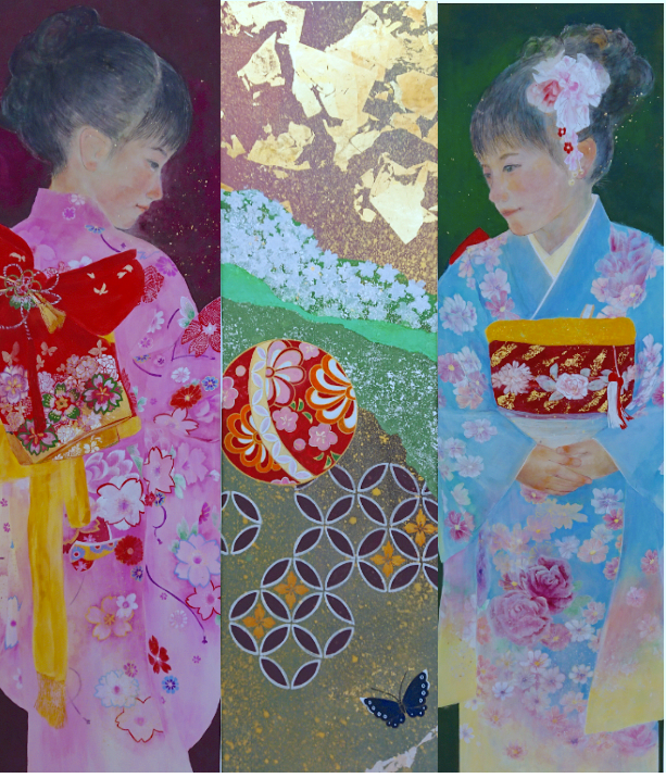 "MIKA ISOHATA ""Japonizumu"" gold and silver leaf on rice paper 100cm x 110cm 2018  .png"
