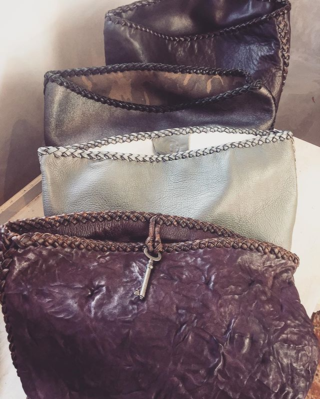 The line up.  Clutches by Gscout. #handmadeleatherbags #oneofakind  #hawaii  #maui  #Milan #newyork  #london  #lonsdaleleather #Vancouver #skeletonkey  #clutchbags  @cheyennejagger  @coyotemoccasins  @misschiefhawaii
