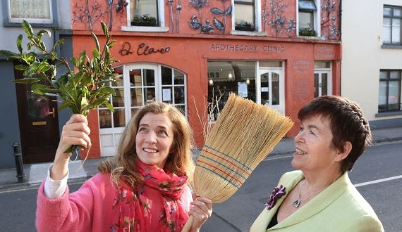 Ruth Ruane and Dr. Dilis Clare outside Dr Clare Apothecary and Health Clinic on Sea Road in Galway