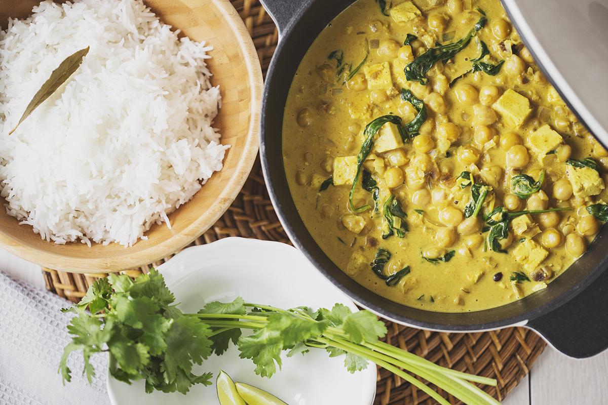 Chickpea, Tofu & Spinach Vegan Curry