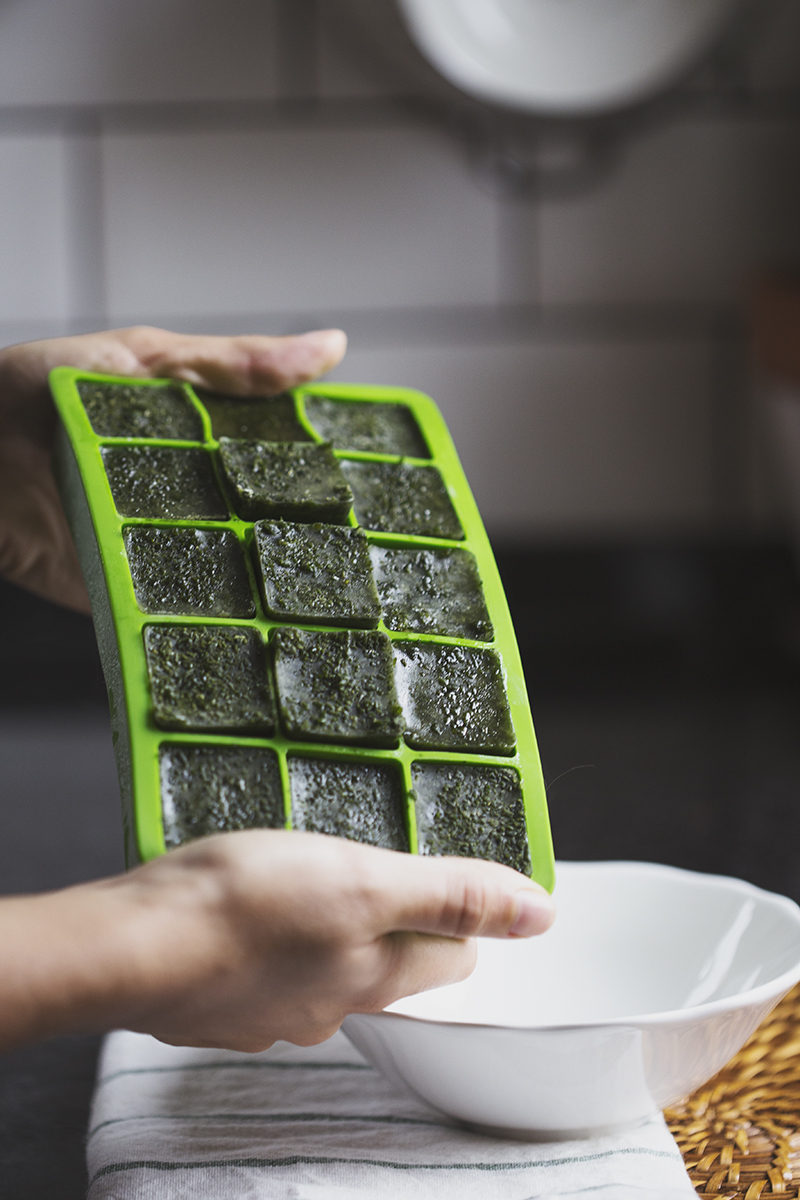 Vegan Kale & Spinach Cubes for Smoothies