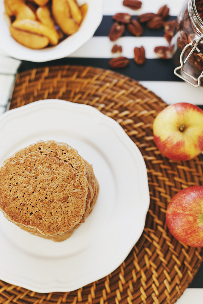 Healthy Vegan Apple Buckwheat Pancakes with Coconut Caramel Apples