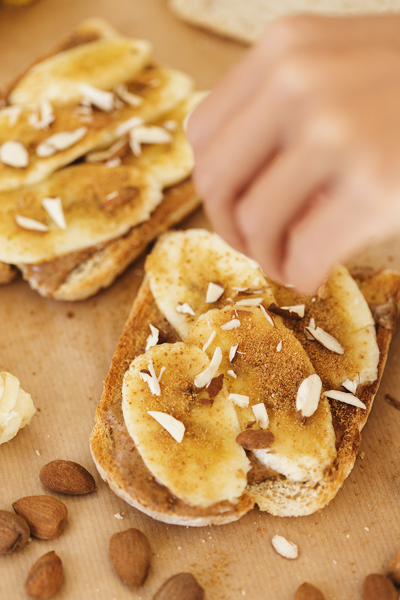 Healthy Vegan Almond Butter & Banana Toasts
