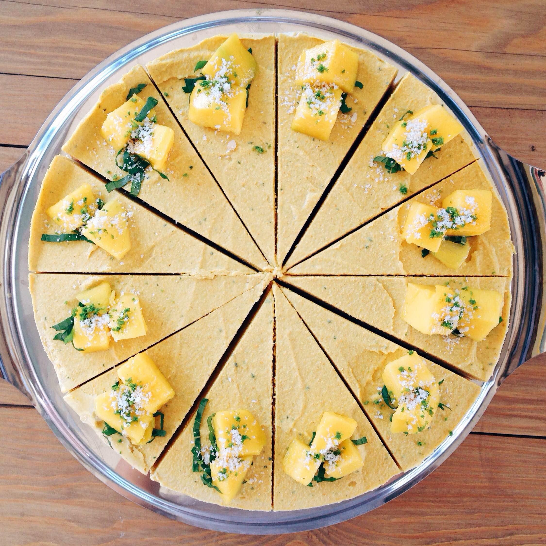 Healthy Raw Vegan Mango & Mint Cheesecake
