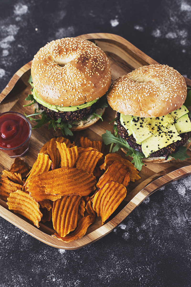 Vegan Black Bean, Mushroom, Dried Fig & Kalamata Olive Burger Recipe