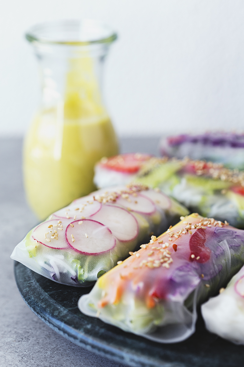 Vegan Recipe for Rainbow Spring Rolls with Mango, Basil & Lime Tahini Cream