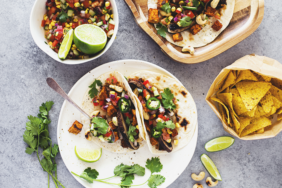 Healthy Vegan Tacos with Spiced Sweet Potatoes and Grilled Portobello Mushrooms