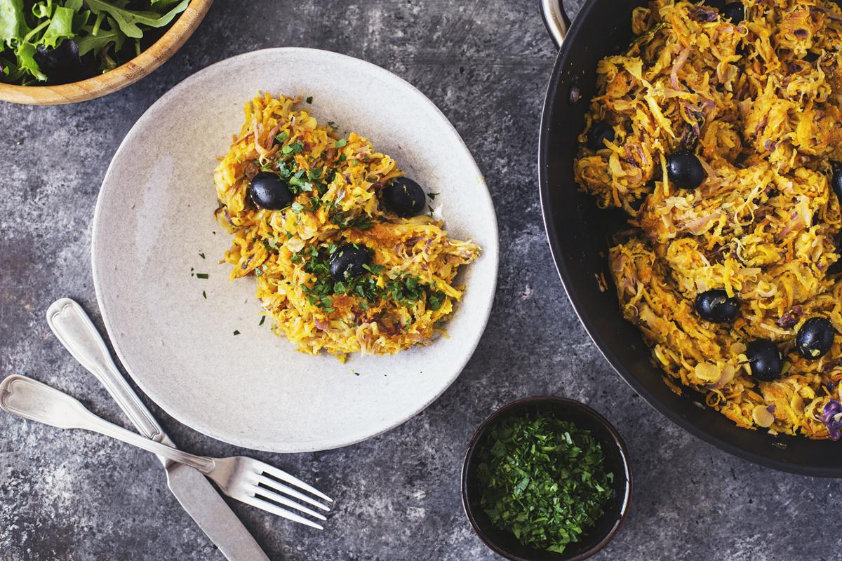 Receita vegan e vegetariana de Vegetais À Brás para o almoço