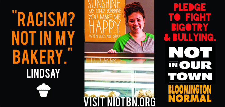 Electronic billboards such as the one above are among the media that have been used to promote individual Bloomington-Normal business's commitment to Not In Our Town principles.