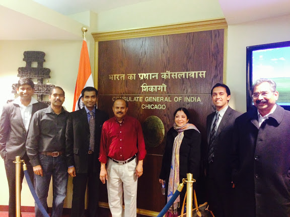 Mandava Rao, right, during a 2014 tour of India's Chicago Consulate.